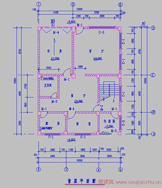 4 建筑平面图 建筑平面图就比较直观了,主要信息就是柱网布置及每层房间功能墙体布置门窗布置楼梯位置等。而一层平面图在进行上部结构建模中是不需要的(有架空层及地下室等除外),一层平面图是在做基础时使用,至于如何真正的做结构设计本文不详述,这里只讲如何看建筑施工图。作为结构设计师在看平面图的同时,需要考虑建筑的柱网布置是否合理,不当之处应该讲出理由说服建筑修改。看建筑平面图,了解了各部分建筑功能,基本上结构上的活荷载取值心中就大致有值了,了解了柱网及墙体门窗的布置,柱截面大小梁高以及梁的布置也差不多有数了,反