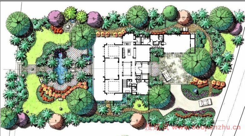 欧式别墅庭院、别墅庭院花园设计、独栋别....