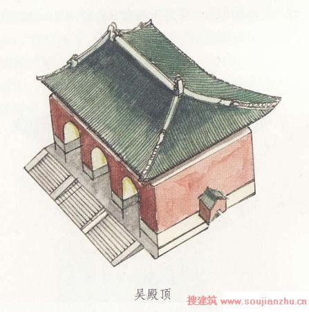 """""""阿""""是建筑屋顶的曲檐,""""四阿""""就是四面坡式的曲檐屋顶."""
