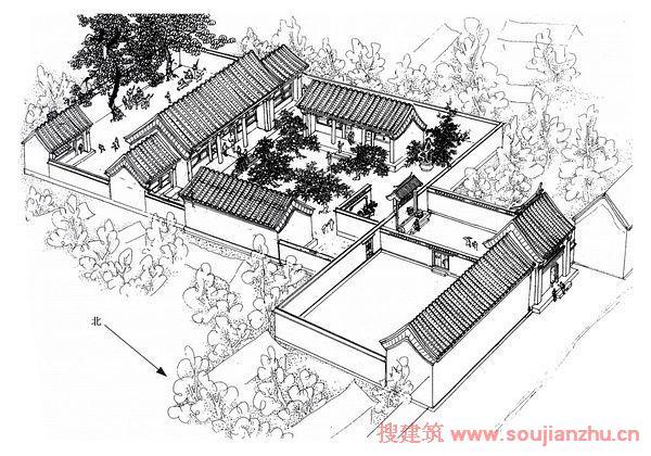 手绘房屋设计图从高空