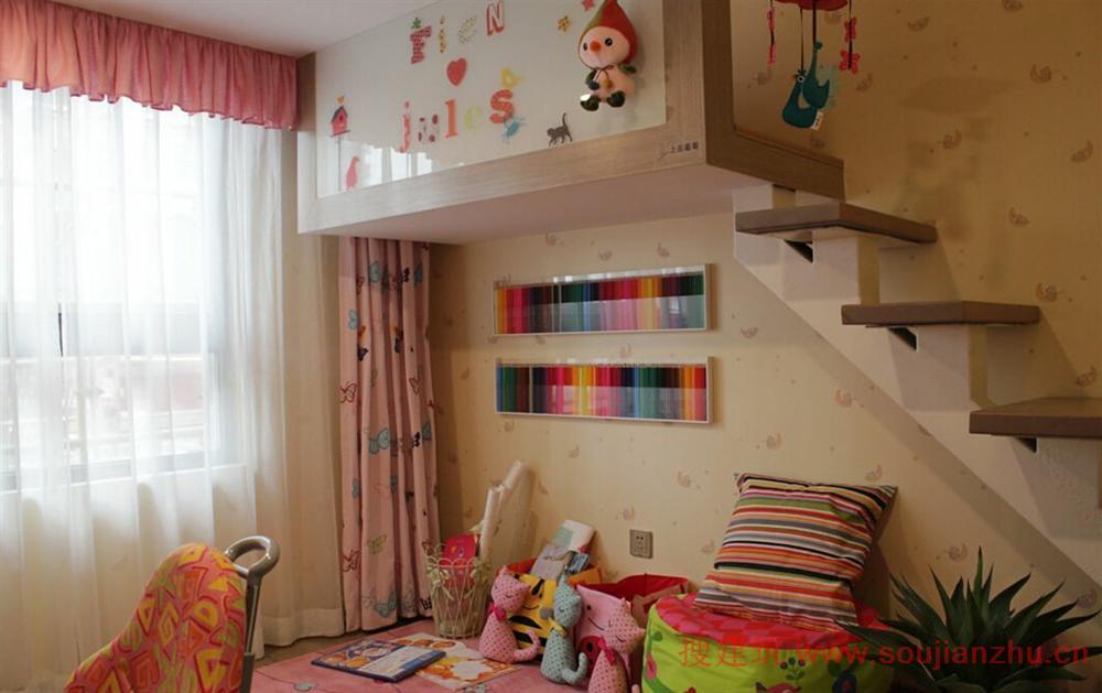 儿童房设计,上层是床,下层是小书房和游乐场所,实用且充满童趣.