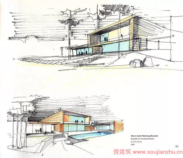 建筑大师手绘表现图