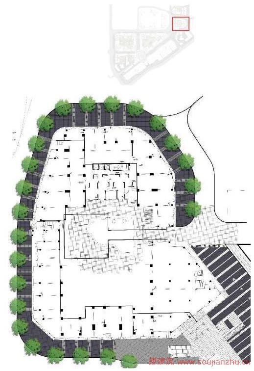 1-2 组团内街透视图:  1-5 组团内街平面图标识:&