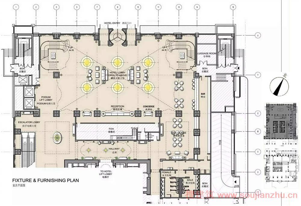 酒店大堂家具平面图