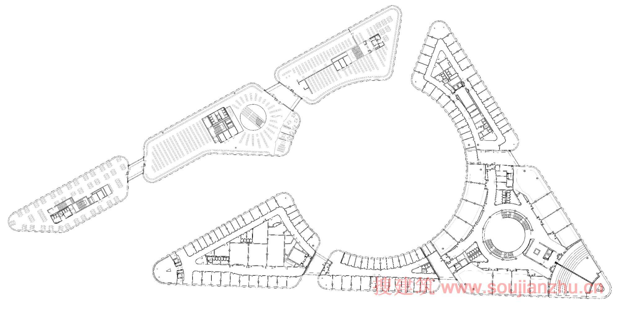 建筑师:Marco Visconti & Foster + Partners 地点:意大利 都灵 年份:2013   在一个5000名学生、单一、现代学校中,合并法律和政治科学设施,该项目为都灵大学创造了灵活的新设施,,以及建立了机构和更广泛的社区间的新连接。   设计是一个现代诠释传统的四角庭院,由两个相互联系的建筑组成,由一个屋顶篷统一,围绕中央庭院安排。新四层图书馆坐落在北面,与多拉河平行,南面是法律和政治科学设施每个教师都有自己从中央庭院进入的入口。一楼有演讲厅、流通和社会空间