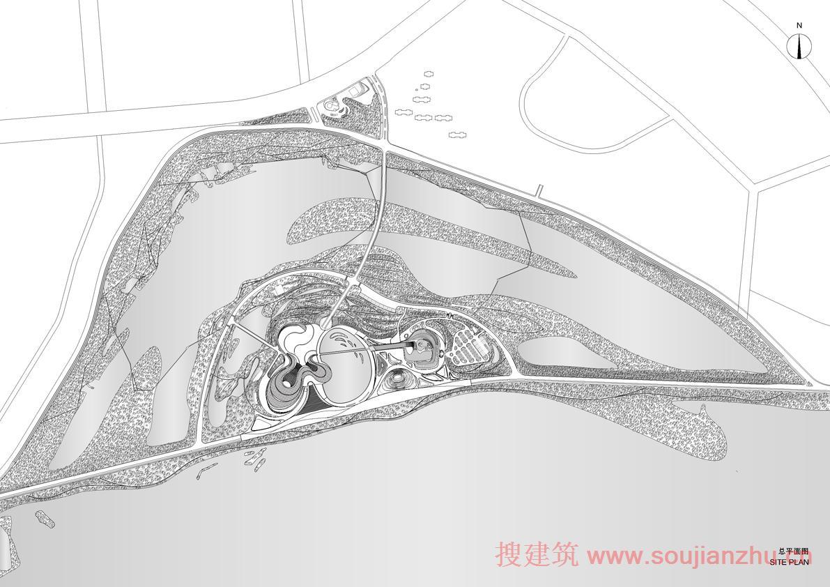 建筑师:MAD Architects 地点:中国 黑龙江 哈尔滨市  面积:180万平方米 年份:2014年   哈尔滨文化岛位于松花江以北河边湿地的自然景观中。整个项目占地1.8平方公里,建筑面积79,000万平方米。是这座北国之都著名的自然栖息地太阳岛北面正在拓展的一部分。 2010年2月,MAD通过竞赛赢得了哈尔滨文化中心项目的设计权。整幢大楼预计将在2014年完成。   受于中国和俄罗斯文化的影响,哈尔滨被誉为北方的音乐之都。哈尔滨