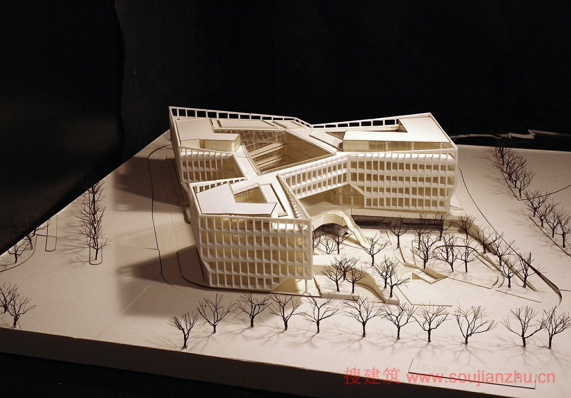 L型办公楼效果图
