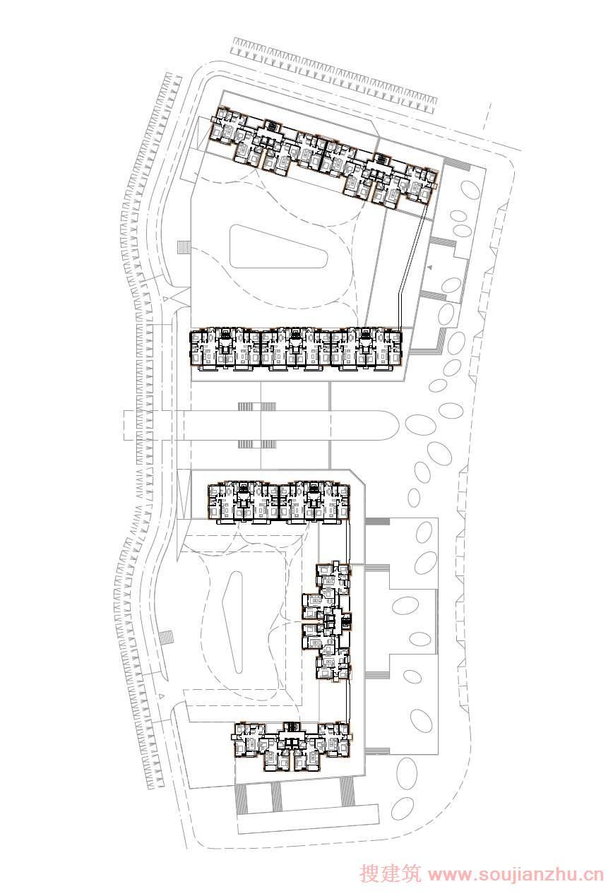 建筑师:CONTEXTURE ARCHITECTS 地点:山东 青岛 面积:5000平方米 为了不让公寓作为单独对象,我们试图让其成为愉快的城市空间:街道、广场和庭院。绿色中轴线两边的广场通往大山公园,低公寓楼已经形成亲密的方形露台属于咖啡店和兄啊餐馆,这些都位于一楼。合肥路附近的建筑已经被重置,因此也形成了一个大广场,提升缓慢在不同的楼层。 大山公园,城市天然的大氧吧,这是在合肥路最优质的位置,长满野草的绿色庭院是公园的延伸同时在高于商业空间的路边种植树木。绿化延伸到场地的每一个角落。当然,所