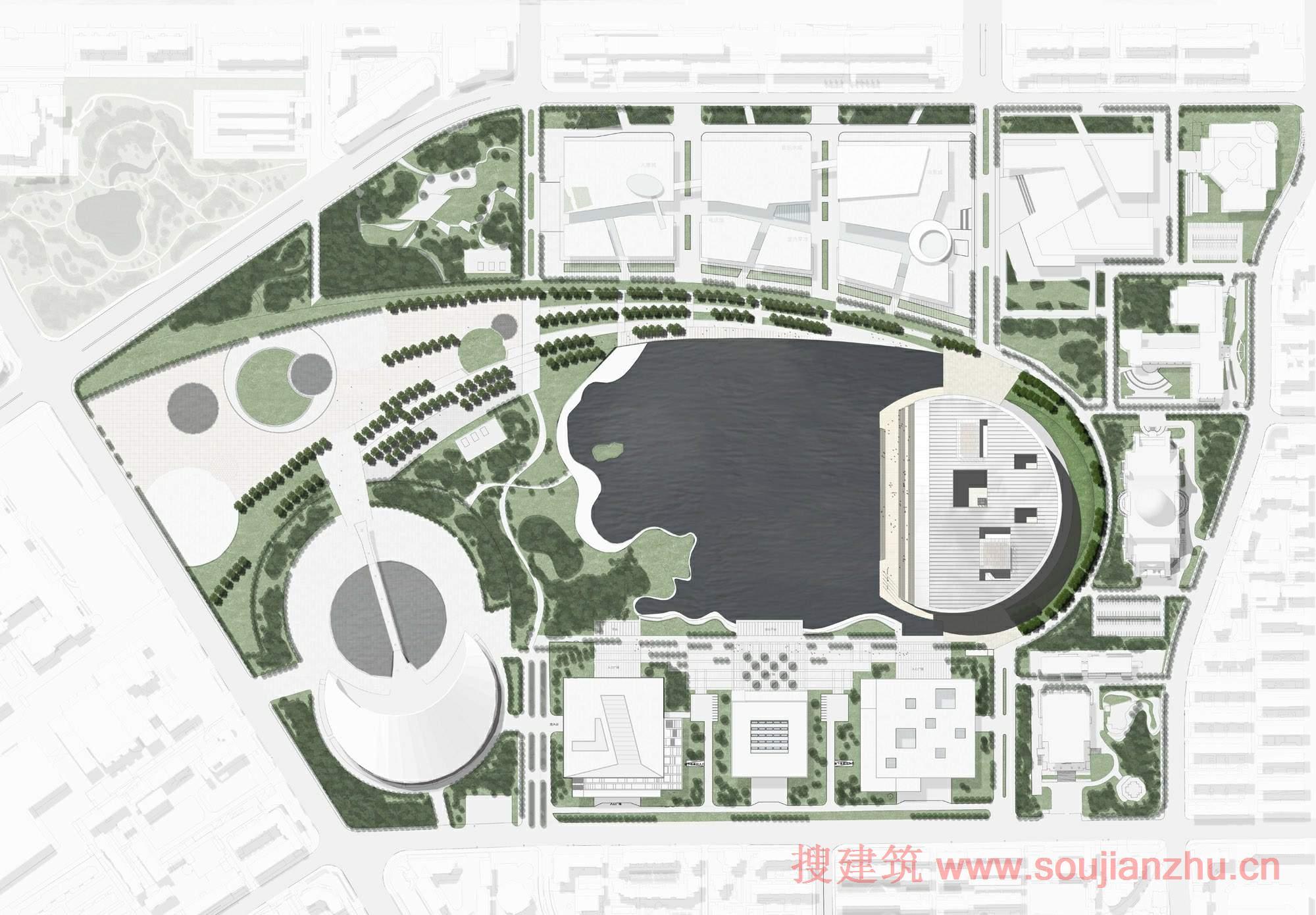 建筑师:gmp Architekten 地点:中国 天津 项目面积:85,000平方米 项目年份:2009 该项目是由gmp Architekten设计的,天津大剧院在新建成的文化公园占据了重要的位置。该建筑的屋顶是圆形的与现有的自然历史博物馆相对应。 大剧院接近广阔的水面其屋顶就像打开的贝壳。歌剧厅,音乐厅和多功能厅,露在水面上就像贝壳上的珍珠一样。宽阔的楼梯连接的石头基础创造了一种城市生活还可以俯瞰湖泊和文化公园广场。避免车辆交通在靠近水域的一侧。陡坡位于北部和南部,而巴士站位于沿住宅丘东部