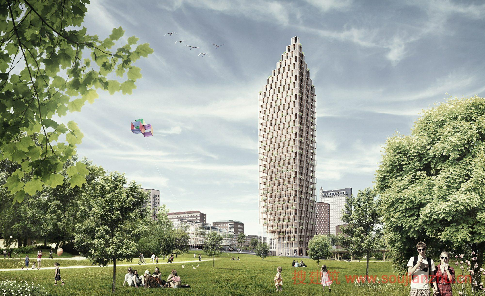 建筑师:Berg  C.F. Moller Architects 地点:瑞典 斯德哥尔摩 年份:2013 层数:34层 Berg  C.F. Moller建筑师与Dinell Johansson和consultants Tyrens合作。团队选择建立向上,并设计了一个34层的住宅楼,这将被视为英里。该项目是一个木结构的混凝土核心建筑,它的目的是让斯德哥尔摩人民一个新颖、独特的信标和会面的地方。 木材是自然的最创新的建筑材料之一,并且它的生产没有废物和二氧化碳结合。木材具有重量轻,且有很强的承