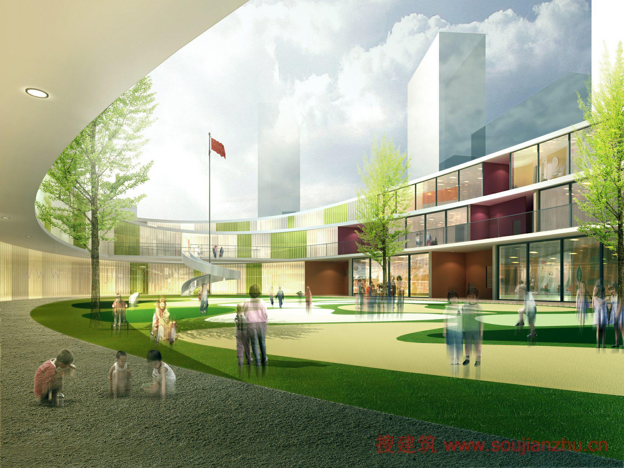 建筑师:UDG China 地点:江苏 无锡 惠山 面积:7975平方米 年份:2015 United Design Group(UDG)China已经开始建设的无锡榭丽花园重新安置的社区幼儿园。三层的建筑,设计成螺旋椭圆环,旨在创造充足的自然光和室外空间,直接连接的孩子们理想的学习环境。 对应的椭圆形广场,UDG说,建筑设计采用了流线型音量前进的时候创建一个动态的效果。布局是内向椭圆形的,中间设有一个户外庭院作为游乐场,还设有升旗场,这也保证了孩子们的活动室足够的阳光和室内通风。