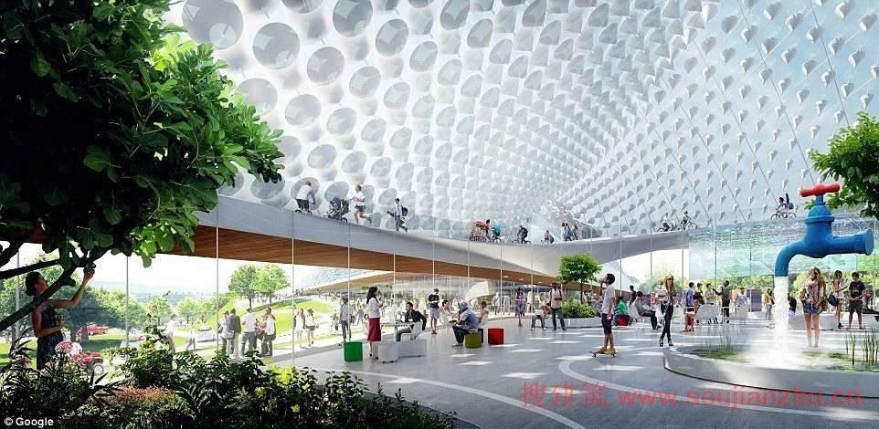 谷歌总部最新设计曝光:巨型玻璃穹顶