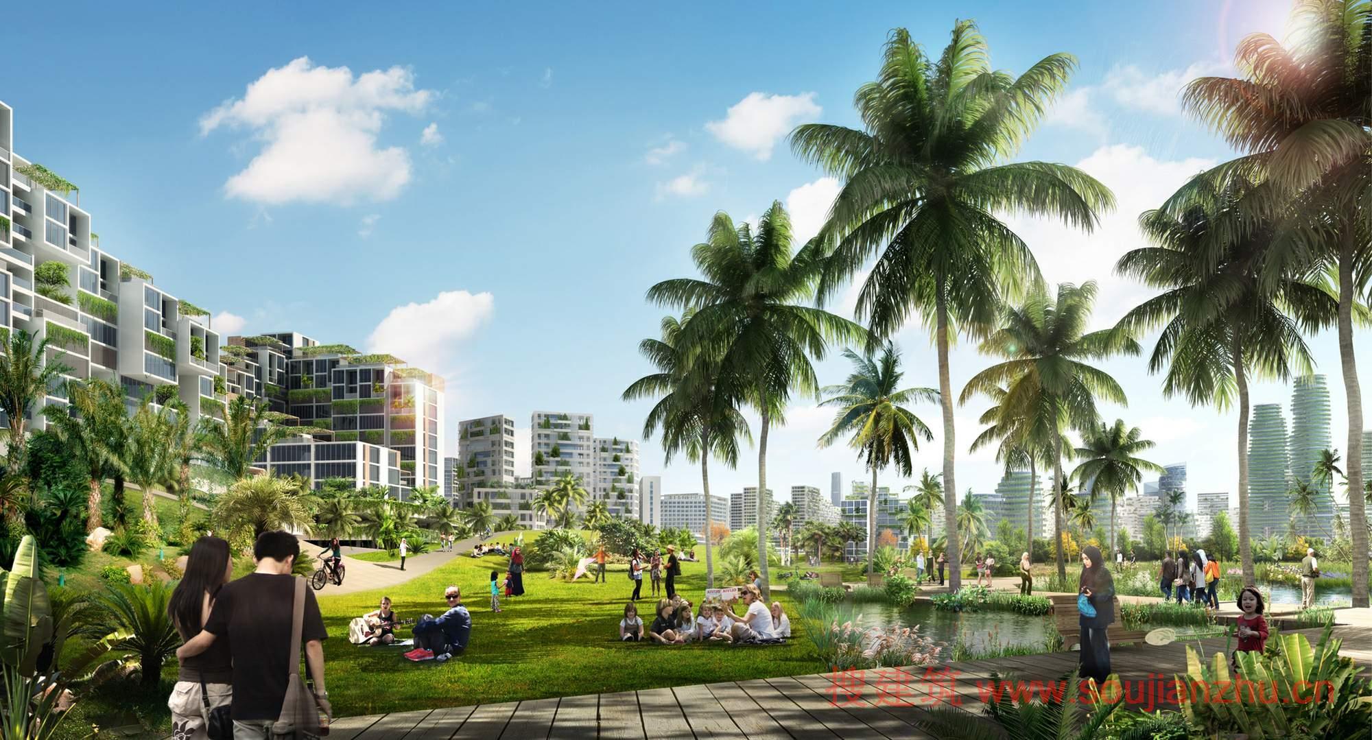 建筑师:Sasaki 地点:马来西亚 年份:2036  该项目位于马来西亚依斯干达特区,横跨4个人工岛屿,森林城市将成为东南亚最大的、混合使用的绿色开发区。该项目是由美国Sasaki Associates设计的,总体规划预计投资583亿美元,预计将为该地区带来约220000个工作岗位。在东南亚的经济中心附近,所以新的森林城市是成为商业和文化枢纽的理想的位置。该项目旨在鼓励生活/工作文化,包括金融机构,高科技研究和发展设施,总部办公室,以及各种用于建设该地区的创新和可持续创意产业。   发展战略是一个混