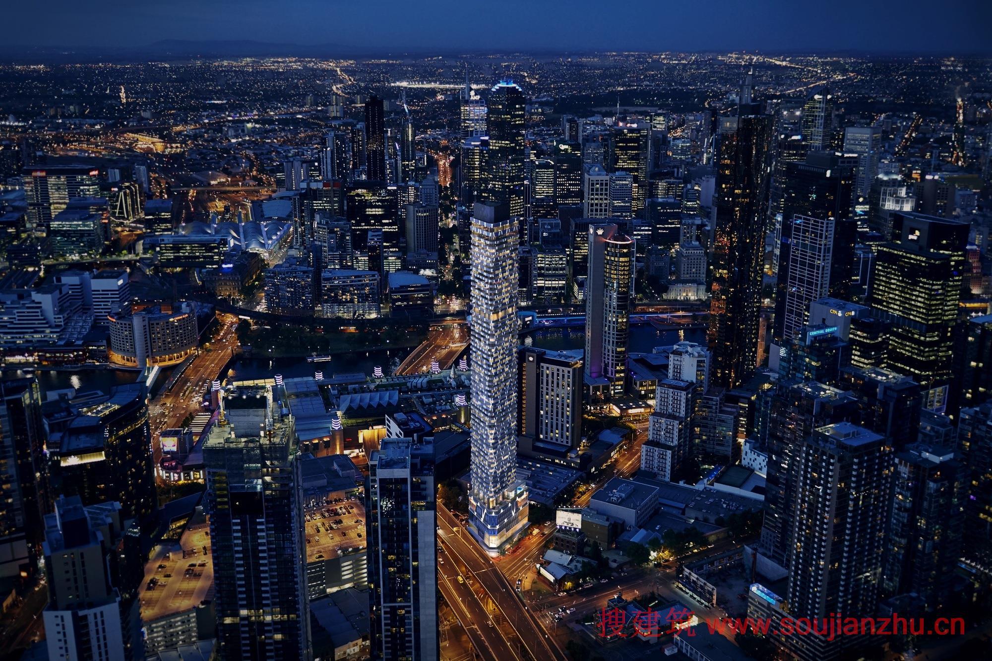 建筑师:ROTHELOWMAN 地点:澳大利亚 年份:2016  Rothelowman建筑师与KPDO的室内设计相结合共同完成了88 Melbourne的设计方案,共耗资1亿澳元,并已公布。55层高的通天塔位于澳大利亚南岸城市的娱乐区。通天塔的设计灵感来源于手工珠宝和折纸艺术。创造在外部的钻石型灯管将会让塔楼的外观非常的闪耀,并能在夜晚照亮墨尔本的夜空。   KPDO的室内设计旨在唤起欧洲酒店和豪华住宅的优雅,运用了一系列的纹理饰面和奢华的触动。共享设施包括一个水疗中心,蒸汽室,桑拿浴室和室内游泳池。还