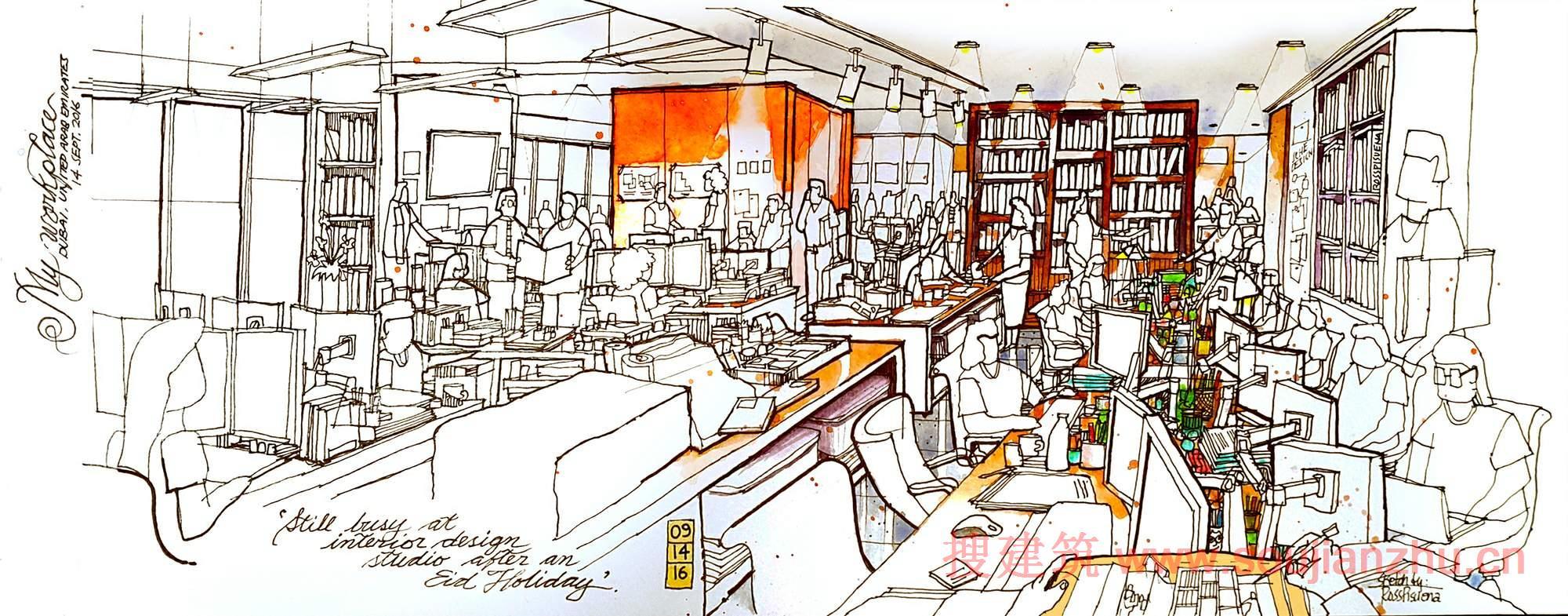42种建筑工作空间,办公桌的草图,手绘和图表展示