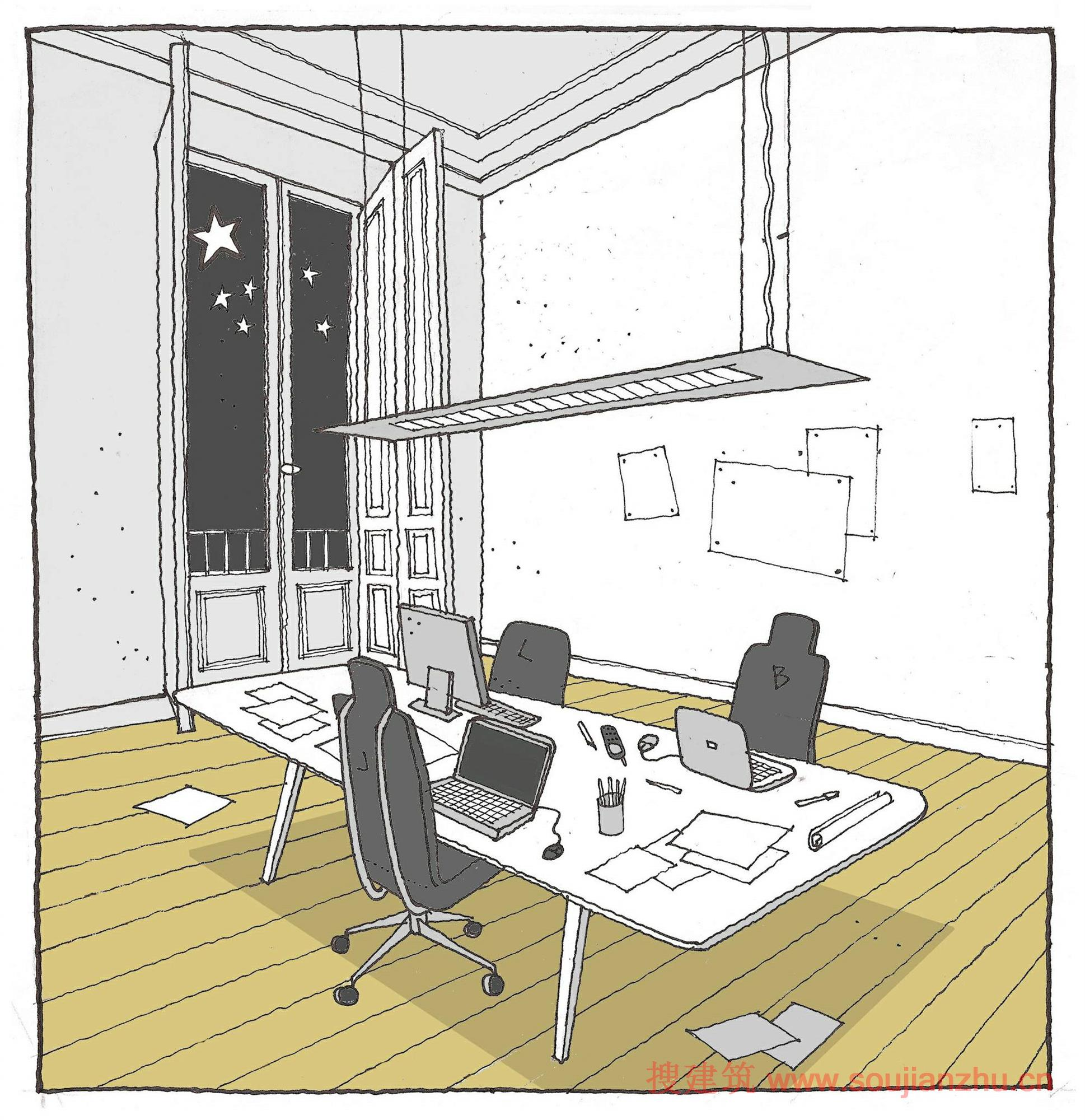 办公桌的草图,手绘和