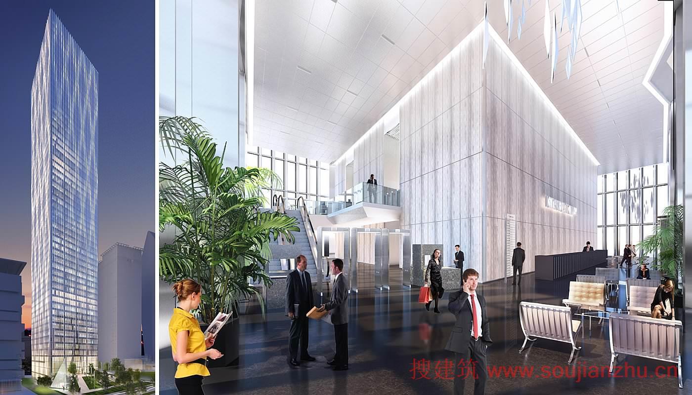 建筑的外围结构提供开放式无柱办公空间