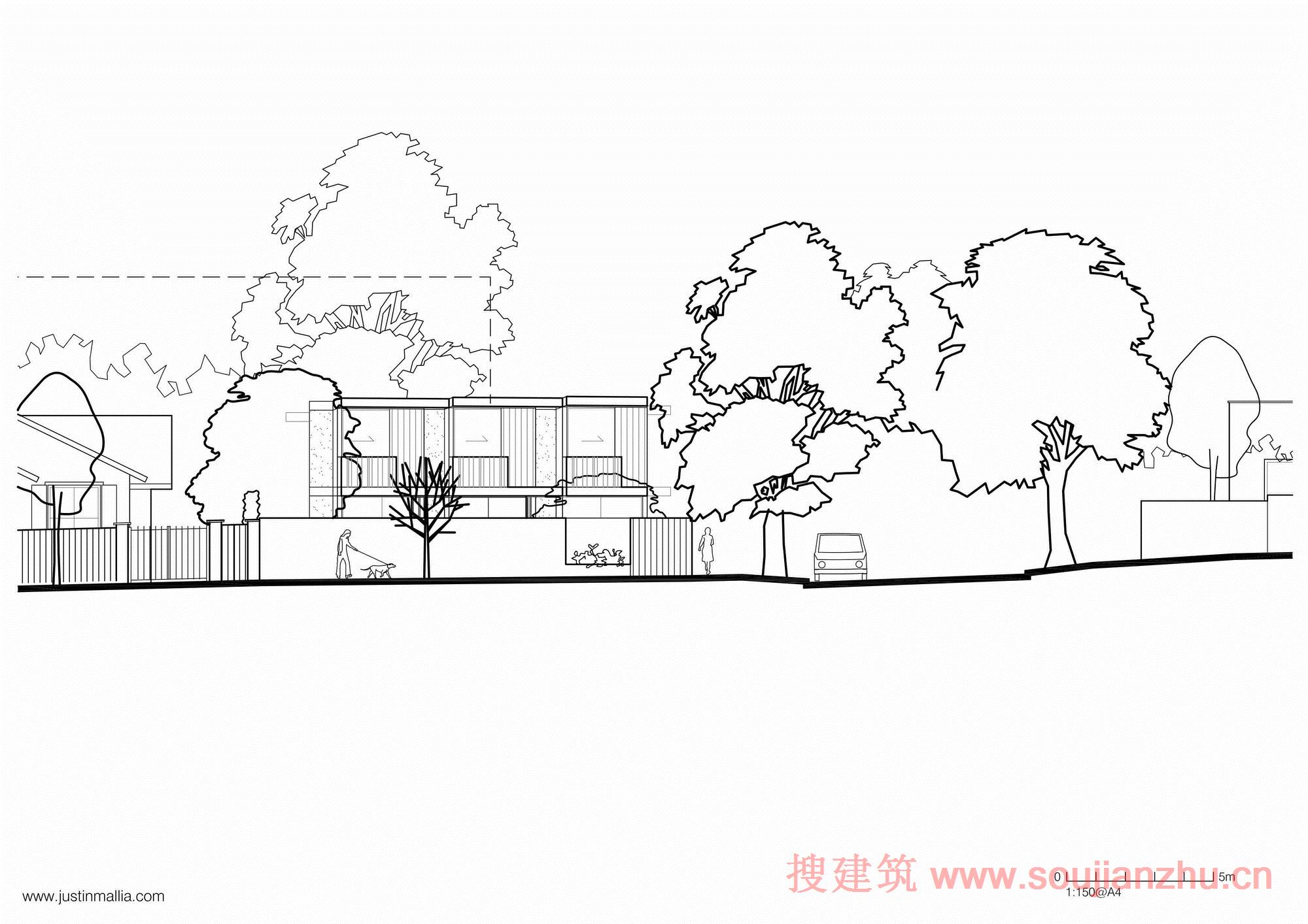 建筑师:Justin Mallia 地点:澳大利亚 面积:485平方米 年份:2015  Oak Grove公寓是一个发展驱动型的企业。业主的详细简介充满视觉风格的理念和场地位于澳大利亚的郊区,建筑协商一个有意义的当代回应在高度饱和的物理和概念的参数。  为了成本效益,该项目涉及两个相同的矩形房子,彼此成90度放置,形成一个花园环境,将大型街道树的感觉带入现场。