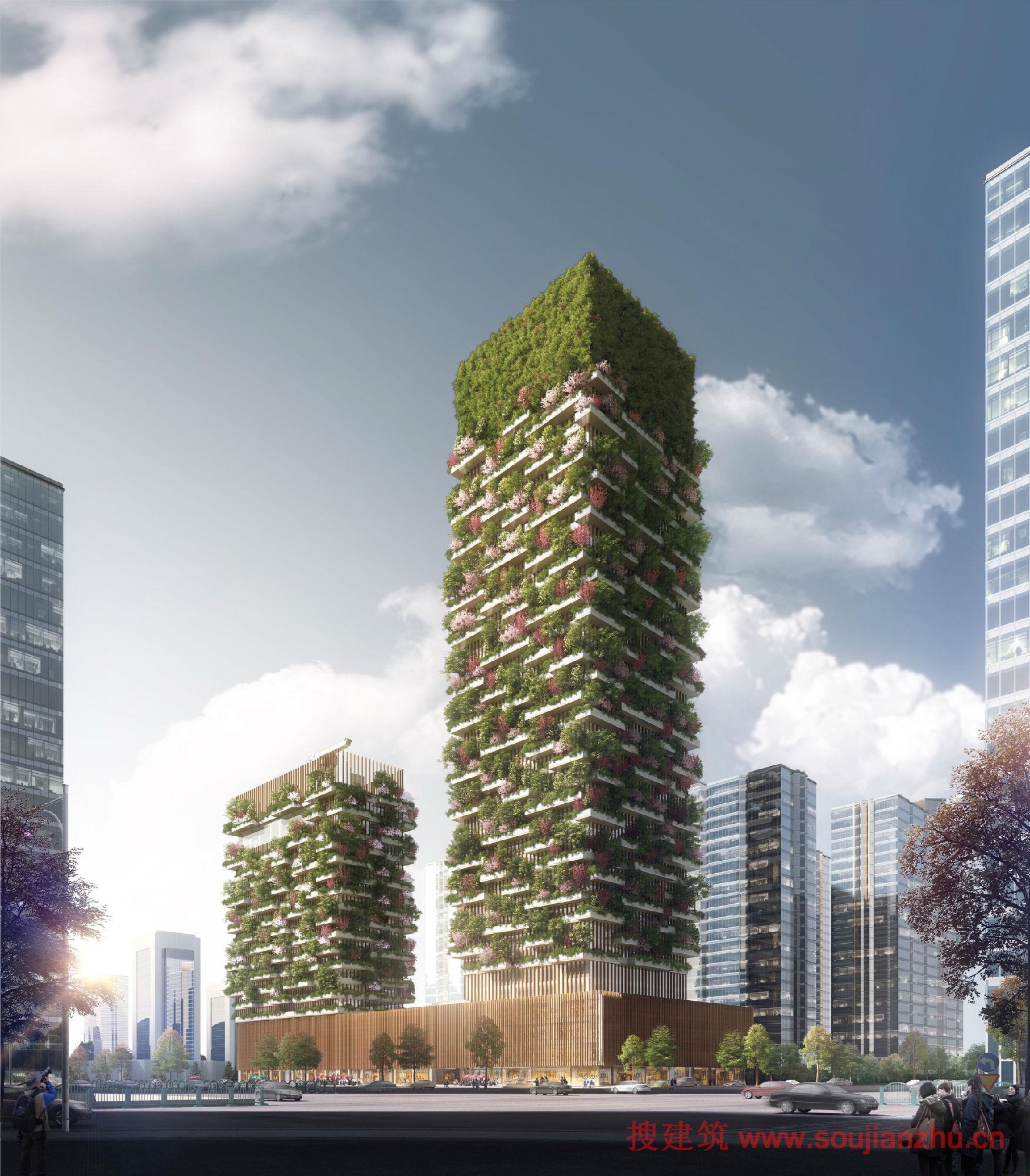 垂直森林原型,其特点是高密度的郁郁葱葱的植被由建筑立面的露台支撑.