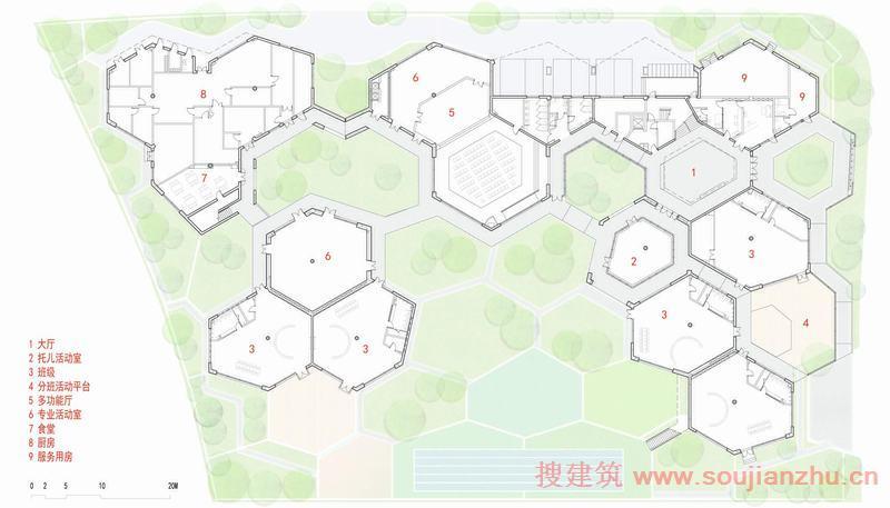建筑师:Scenic Architecture Office 山水秀建筑事务所 地点:安亭镇,嘉定区,上海 场地面积:7400平方米 建筑面积:6600平方米 年份:2015  庭院,在中国建筑中,既是物质空间的传统,又是情感与交流的核心。它有助于人们保持家庭的凝聚力,加强与亲友的联系,并以可触摸的方式连接自然与宇宙。然而,如今这种遗产对于大多数城市居民来说已经是不可能实现的梦想了。   安亭是上海西北部和苏州华侨城之间边界城市化的郊区。位于地铁11号线安亭站南侧新建的住宅区幼儿园是公共设施建设规划中的早