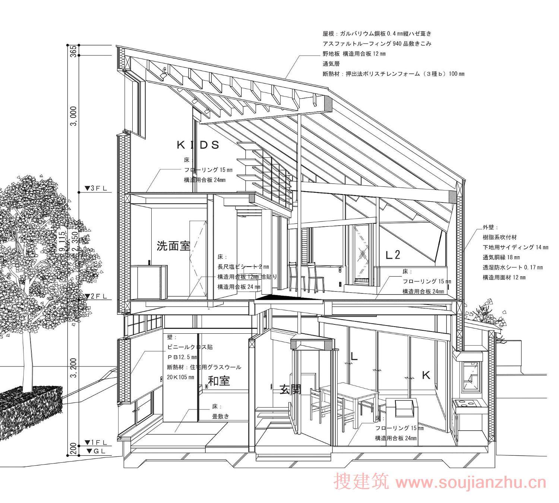 房子剖面图手绘卡通